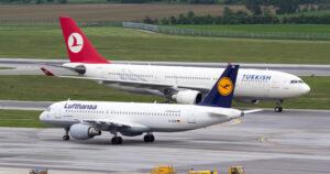 Aviones de Lufthansa y Turkish Airlines