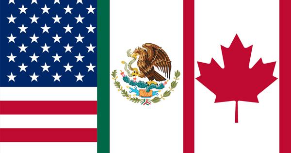 Bandera de EEUU, México y Canada