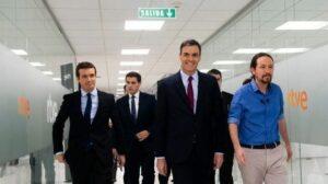Pedro Sánchez, Pablo Casado, Albert Rivera y Pablo Iglesias en el debate de RTVE