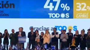 Celebración resultado electoral de Alberto Fernández