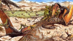 Recreación de Keresdrakon vilsoni. El ejemplar de la derecha se alimenta de los restos del dinosaurio Vespersaurus parananesis