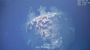 """Restos del buque de guerra acorazado alemán """"SMS Scharnhorst"""", hundido en la Primera Guerra Mundial, frente a las costas de las islas Malvinas (Falklands, según la denominación británica), hallado por científicos británicos"""