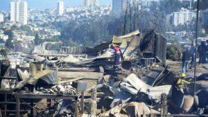 Daños provocados por el incendio en Valparaíso