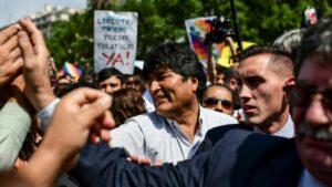 El expresidente de Bolivia Evo Morales, durante una protesta de las Madres de la Plazo de Mayo, el 26 de diciembre de 2019 en Buenos Aires