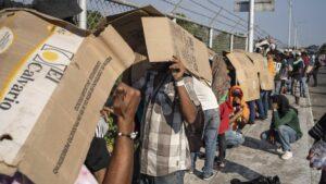 Migrantes hondureños en Chiapas, México