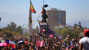 Manifestación en Santiago de Chile durante la jornada del Día Internacional de la Mujer 2020