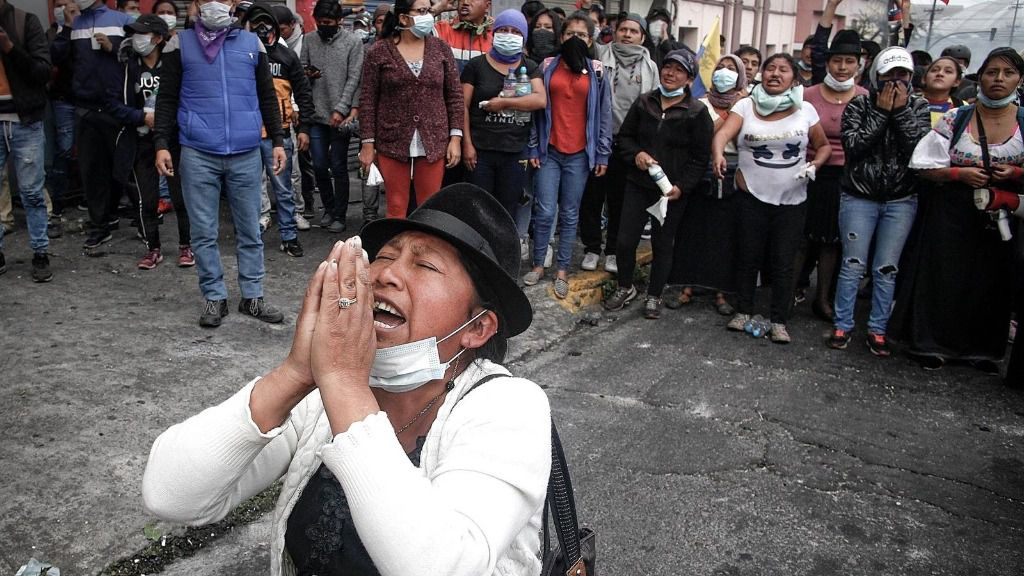 Manifestación de indígenas ecuatorianos