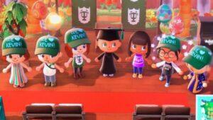 El avatar de la congresista demócrata estadounidense Alexandria Ocasio-Cortez asiste a una graduación en el videojuego Animal Crossing: New Horizons