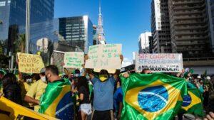 Manifestación en favor de Jair Bolsonaro en Sao Paulo