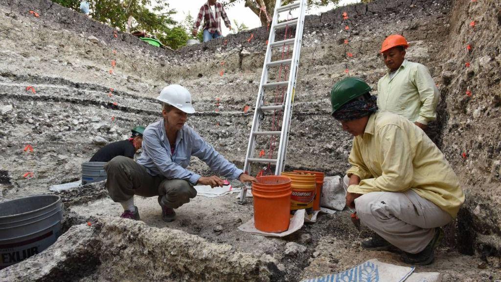 El equipo de arqueólogos trabajando en la extracción de muestras en el yacimiento maya de Aguada Fénix (México)