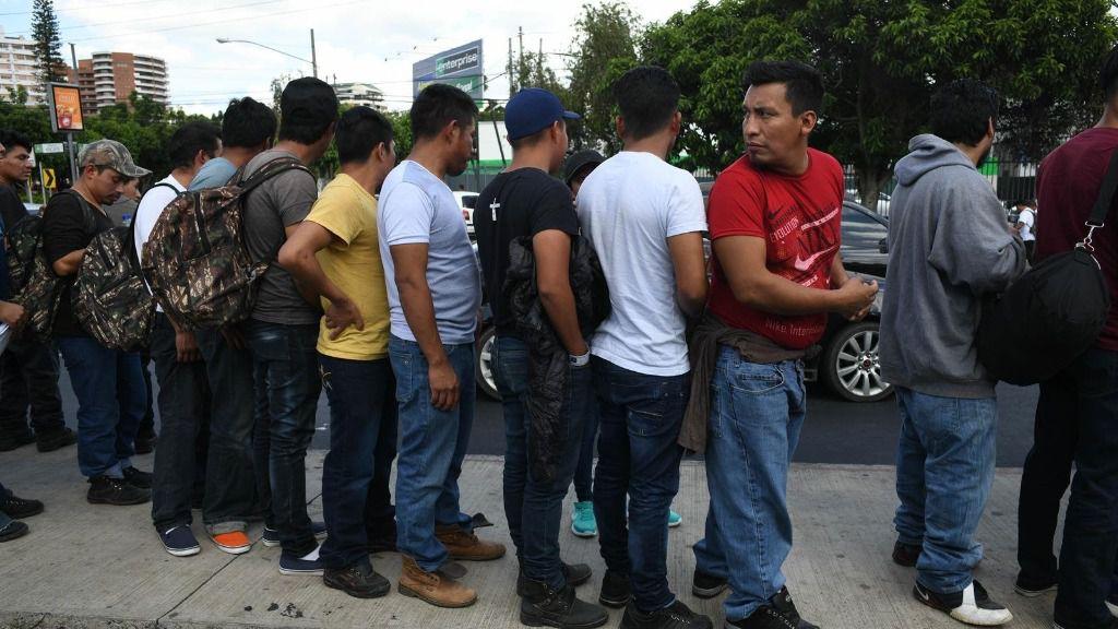 Migrantes deportados por Estados Unidos a Guatemala en agosto de 2019