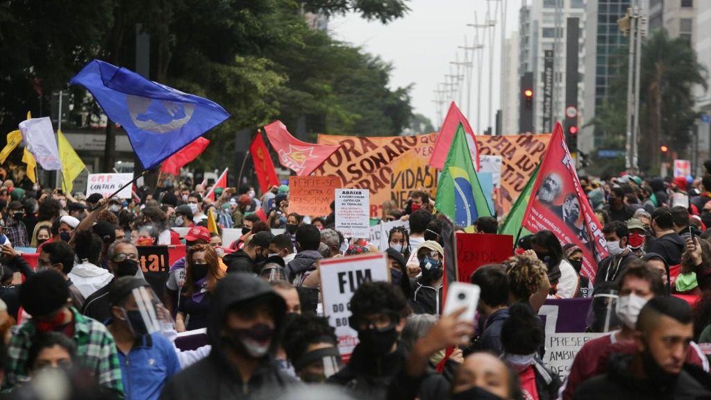 Manifestación contra el racismo y el presidente de Brasil, Jair Bolsonaro, celebrada este domingo en Sao Paulo