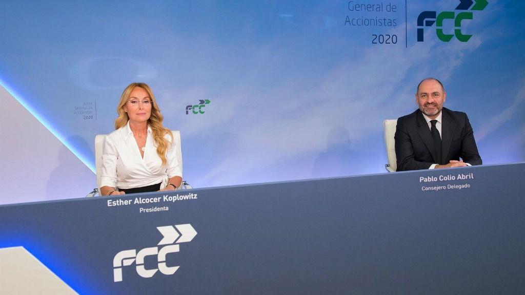 La presidenta de FCC, Esther Alcocer Koplowitz, y su consejero delegado, Pablo Colio