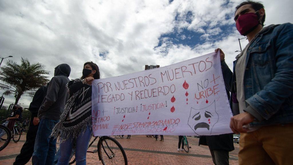 Manifestación contra las recientes masacres cometidas en Colombia
