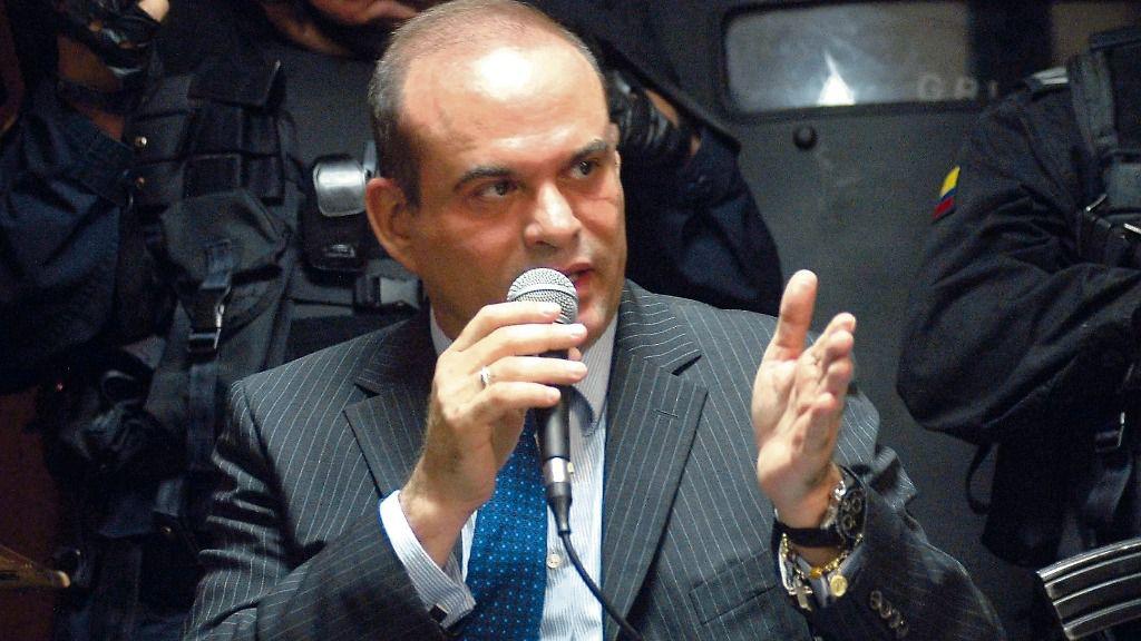 El exparamilitar colombiano Salvatore Mancuso durante una audiencia judicial
