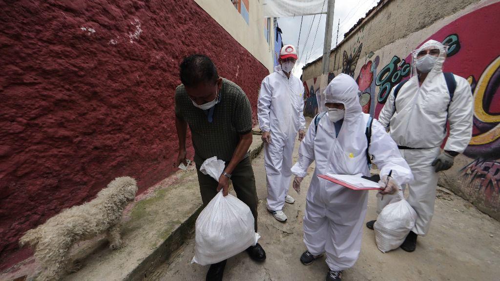Reparto de insumos en Bogotá durante la epidemia de coronavirus