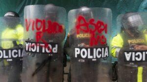 Manifestación contra la violencia policial en Colombia
