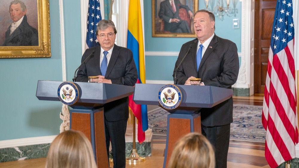 El ministro de Defensa de Colombia, Carlos Holmes Trujillo, y el secretario de Estado de EEUU, Mike Pompeo