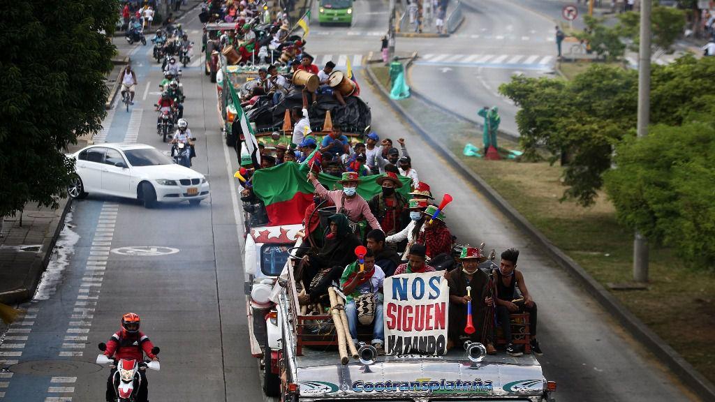 La 'minga' indígena a su paso por Cali, Colombia