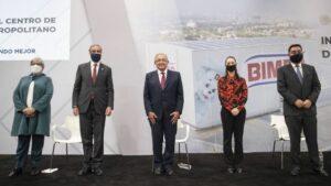 El presidente de México, Andrés Manuel López Obrador; y la jefa de Gobierno de Ciudad de México, Claudia Sheinbaum; durante la inauguración de un centro de distribución de Bimbo en Ciudad de México