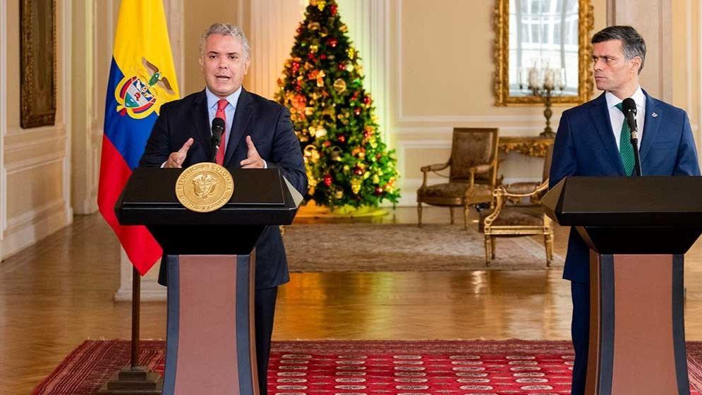 El presidente de Colombia, Iván Duque, junto al líder opositor venezolano Leopoldo López