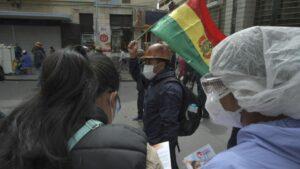 Una cooperativa minera protesta en las calles de La Paz